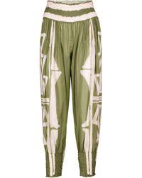 Johanna Ortiz Cursos Del Rio Printed Cotton Trousers - Green