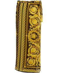 Versace Bedruckter Sarong Barocco aus Seide - Mettallic