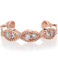 Jacquie Aiche Pave Marquise 14kt Rose Gold Ear Cuff With Diamonds - Metallic