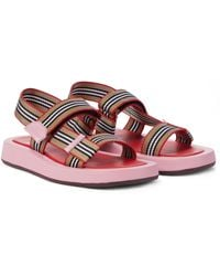 Burberry Icon Stripe Canvas Sandals - Pink