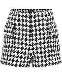Balmain Short en tweed de coton à motif pied-de-poule - Noir