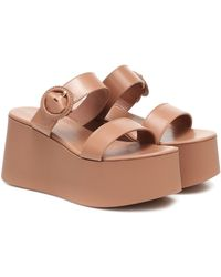 Gianvito Rossi Leather Platform Sandals - Natural