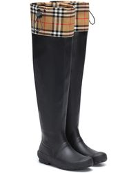 Burberry Check And Rubber Boots - Black