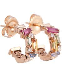 Suzanne Kalan Boucles d'oreilles en or rose 18 ct, diamants et saphirs - Multicolore