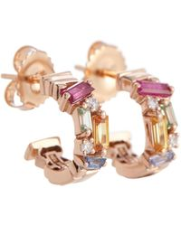 Suzanne Kalan Boucles d'oreilles en or rose 18 ct, diamants et saphirs - Multicolore
