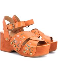 Marc Jacobs - Wildflower Leather Wedge Sandals - Lyst