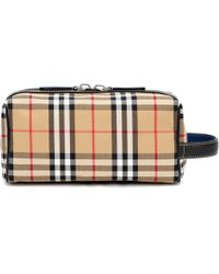 Burberry - Check And Leather Pouch - Lyst
