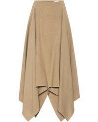 Ferragamo Asymmetrical Linen And Silk Skirt - Natural
