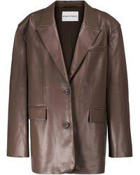 Stand Studio Sylvia Faux Leather Blazer - Brown