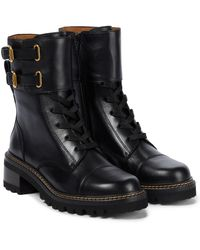 See By Chloé Ankle Boots Mallory aus Leder - Schwarz