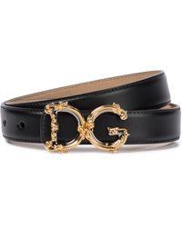 Dolce & Gabbana Cinturón de piel con logo - Negro