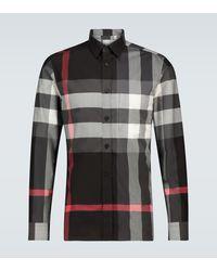 Burberry Somerton Checked Shirt - Grey