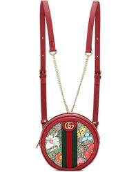 Gucci Ophidia Flora Pattern Shoulder Bag - Red