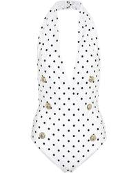 Balmain Polka-dot Swimsuit - White