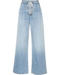 Unravel Project Lace-up Wide-leg Jeans - Blue