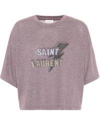 Saint Laurent - Cropped T-shirt - Lyst