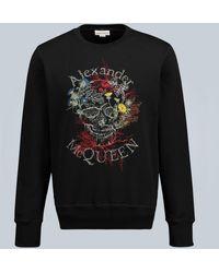 Alexander McQueen Sweatshirt Botanical Skull - Schwarz