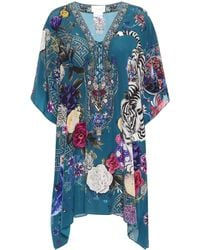 Camilla Printed Lace-up Silk Cover-up - Blue