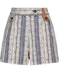 Loewe Gestreifte Shorts Anagram aus Baumwolle - Blau