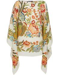 Etro Poncho in seta con stampa floreale - Multicolore