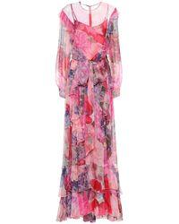 Valentino Abito lungo a stampa floreale in seta - Rosa