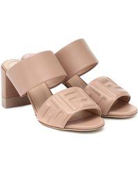 Fendi - Ff Embossed Leather Sandals - Lyst