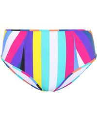 Diane von Furstenberg Striped High-waisted Bikini Bottoms - Blue