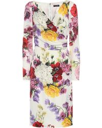 Dolce & Gabbana Floral Print Long-sleeve Dress - White