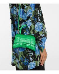 Balenciaga Hourglass Xs Leather Tote - Green