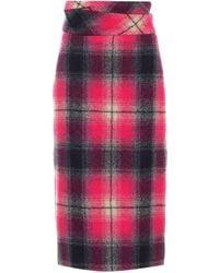 Dries Van Noten High-rise Checked Wool Midi Skirt - Multicolour