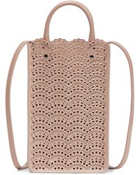 Alaïa Garance Leather Phone Pouch - Natural