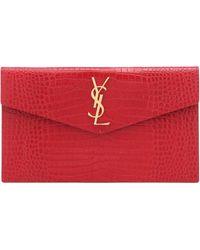 Saint Laurent Uptown Croc-effect Leather Clutch - Red
