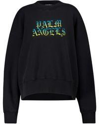 Palm Angels Logo Cotton Jersey Sweatshirt - Black