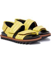 Dries Van Noten Leather Slingback Sandals - Yellow