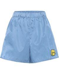 Prada Logo Patch Nylon Shorts - Blue