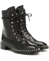 Stuart Weitzman Sondra Leather Ankle Boots - Black