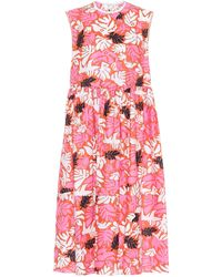 Marni Vestido midi de lino y algodón - Rosa