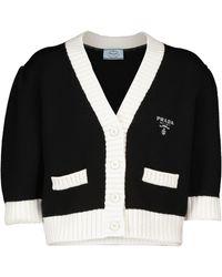 Prada Cardigan raccourci en laine vierge - Noir