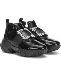 Roger Vivier Viv' Run Leather Sneakers - Black