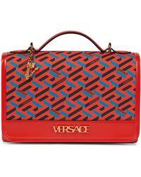 Versace La Greca Signature Shoulder Bag - Red