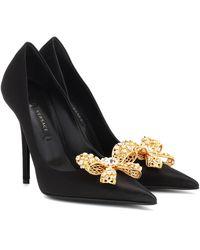 Versace Embellished Satin Pumps - Black