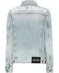 Palm Angels Chaqueta de jeans con logo - Azul