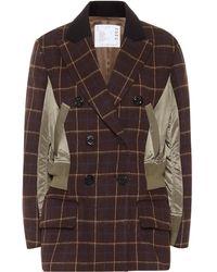 Sacai Checked Wool Jacket - Brown
