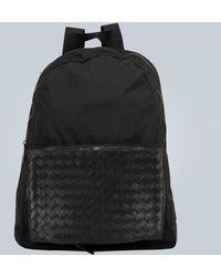 Bottega Veneta Backpack With Intrecciato Panel - Black