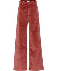 AMI High-rise Wide-leg Corduroy Trousers - Red