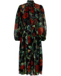 Dolce & Gabbana Abito in chiffon di seta con stampa floreale - Nero