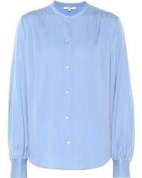 Vince Chemise en soie mélangée - Bleu