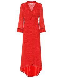 Ganni Polka-dot Georgette Midi Dress - Red