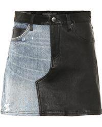 Amiri Minifalda de piel y jeans - Negro