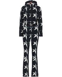 Perfect Moment Star Printed Ski Suit - Black